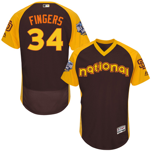 Padres 34 Rollie Fingers Brown 2016 MLB All Star Game Flexbase Batting Practice Player Jersey