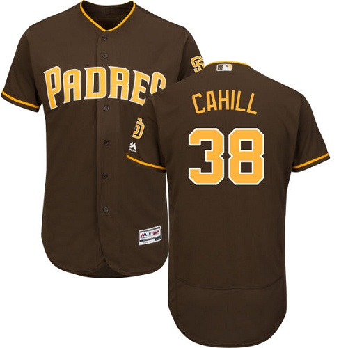 Padres 38 Trevor Cahill Brown Flexbase Jersey