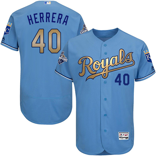 Royals 40 Kelvin Herrera Light Blue 2015 World Series Champions Gold Program Flexbase Jersey