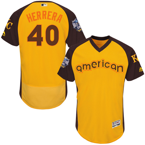 Royals 40 Kelvin Herrera Yellow 2016 MLB All Star Game Flexbase Batting Practice Player Jersey