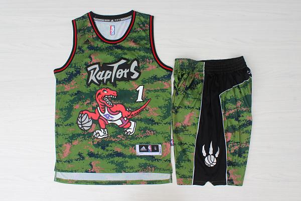 Raptors 1 Tracy McGrady Camo Swingman Jersey(With Shorts)