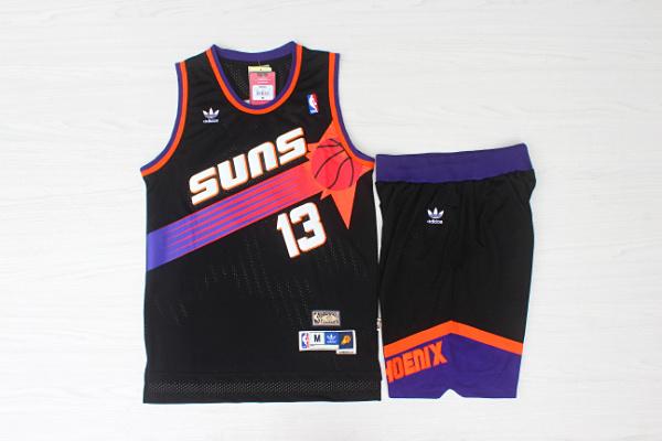 Suns 13 Steve Nash Black Hardwood Classics Jersey(With Shorts)