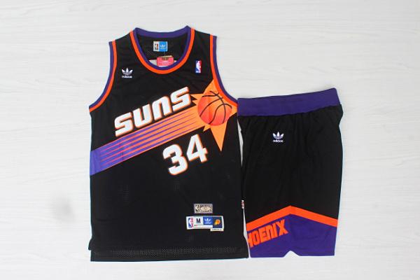Suns 34 Charles Barkley Black Hardwood Classics Jersey(With Shorts)