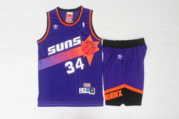 Suns 34 Charles Barkley Purple Hardwood Classics Jersey(With Shorts)