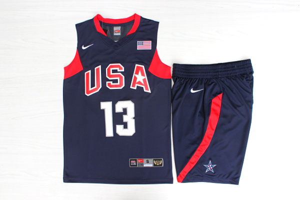 Team USA Basketball 13 Chris Paul Navy Nike Stitched Jersey(With Shorts)