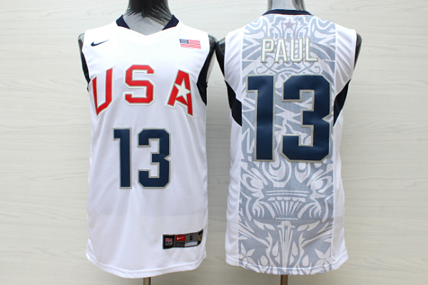 Team USA Basketball 13 Chris Paul White Nike Stitched Jersey