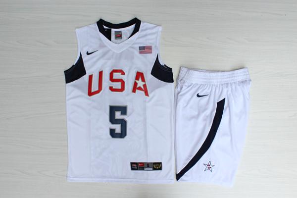Team USA Basketball 5 Jason Kidd White Nike Stitched Jersey(With Shorts)