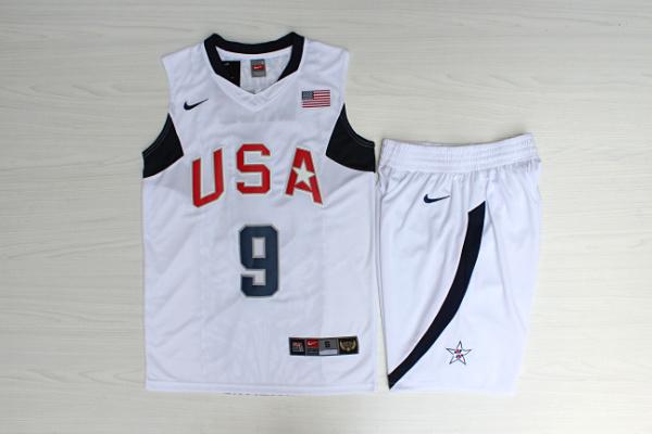 Team USA Basketball 9 Dwyane Wade White Nike Stitched Jersey(With Shorts)