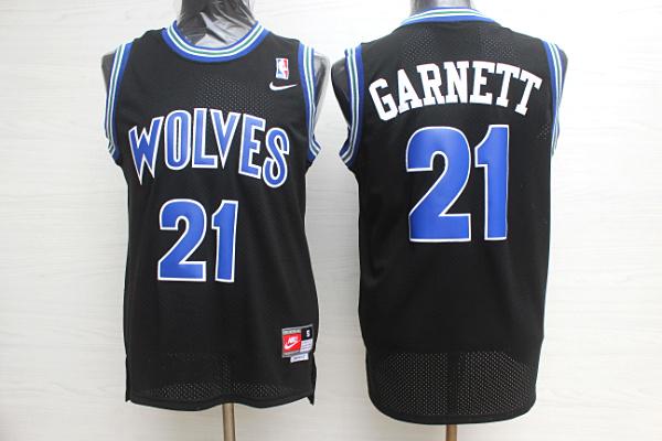 Timberwolves 21 Kevin Garnett Black Nike Jersey