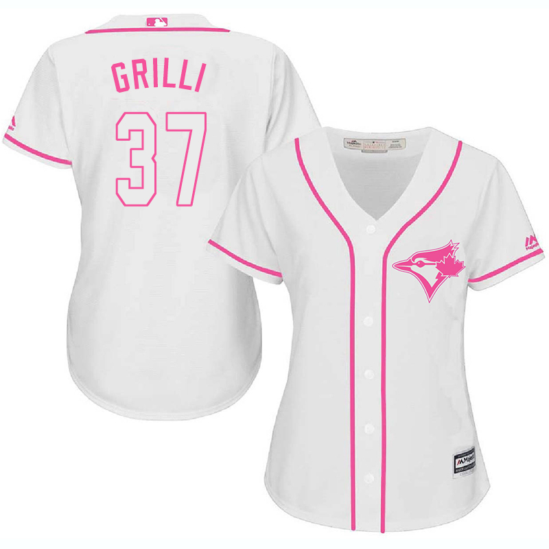 Blue Jays 37 Jason Grilli White Pink Women Cool Base Jersey
