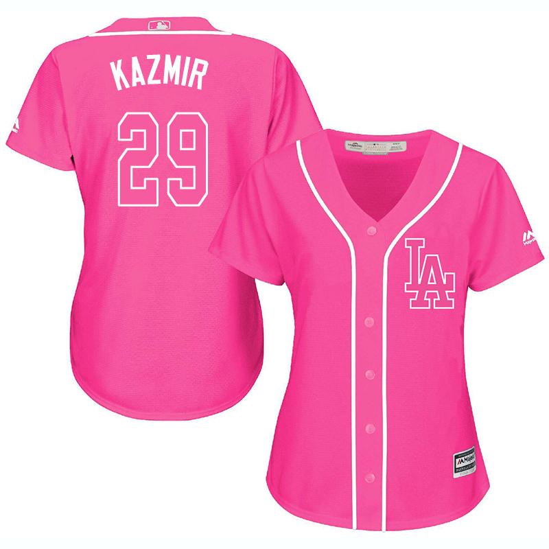Dodgers 29 Scott Kazmir Pink Women Cool Base Jersey