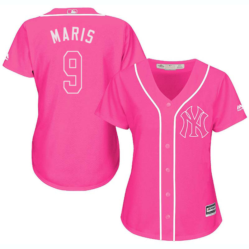 Yankees 9 Roger Maris Pink Women Cool Base Jersey