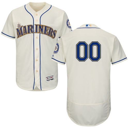 Seattle Mariners Cream Men's Customized Flexbase Jersey