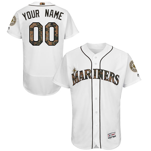 Seattle Mariners White Memorial Day Men's Customized Flexbase Jersey