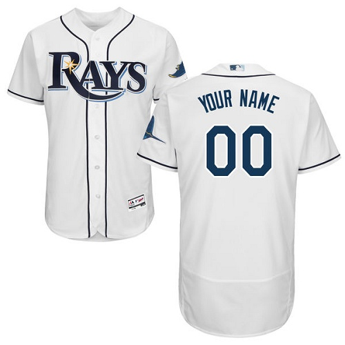 Tampa Bay Rays White Men's Customized Flexbase Jersey