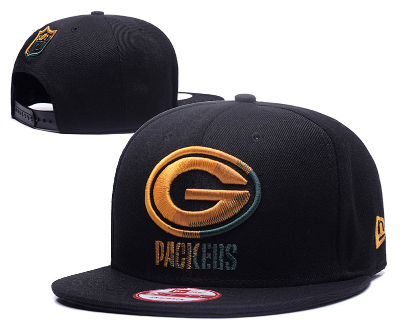 Packers Team Logo All Black Adjustable Hat YS