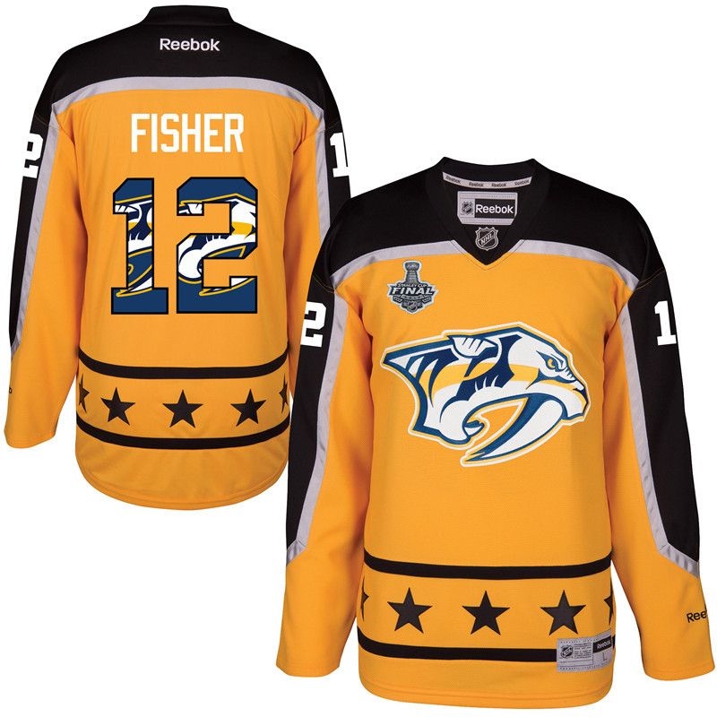 Predators 12 Mike Fisher Gold 2017 Stanley Cup Final Team Logo Print Reebok Jersey