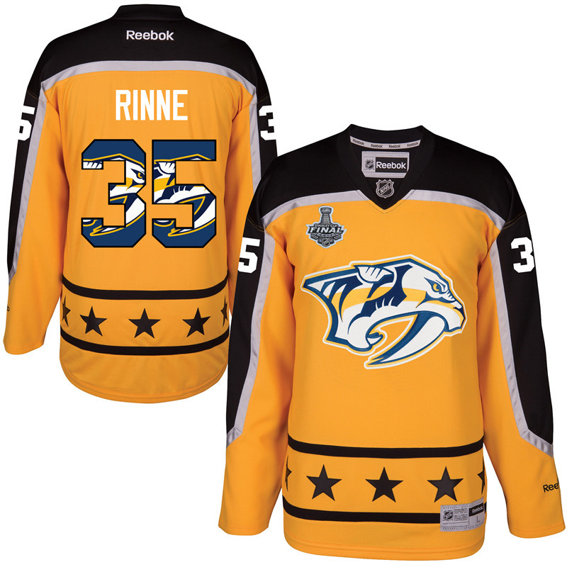 Predators 35 Pekka Rinne Gold 2017 Stanley Cup Final Team Logo Print Reebok Jersey