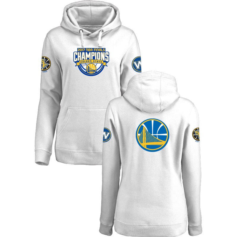 Golden State Warriors 2017 NBA Champions White Women's Pullover Hoodie3
