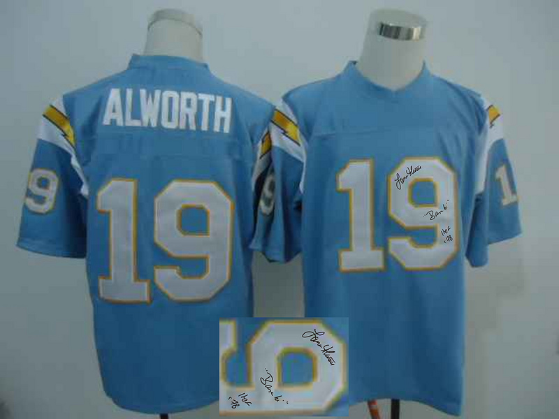 Chargers 19 Lance Alworth Light Blue Signature Edition M & N Jersey