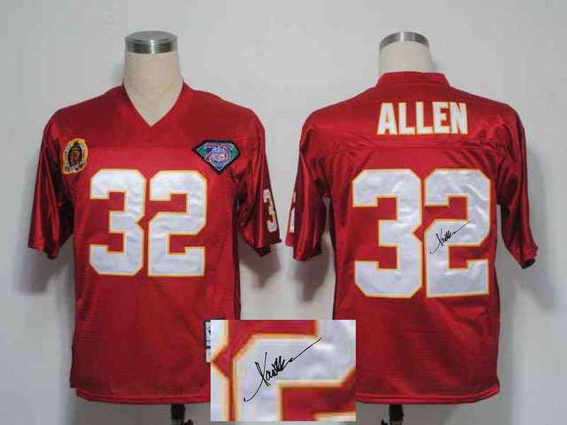 Chiefs 32 Marcus Allen Red Signature Edition M & N Jersey