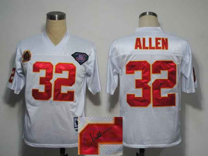 Chiefs 32 Marcus Allen White Signature Edition M & N Jersey