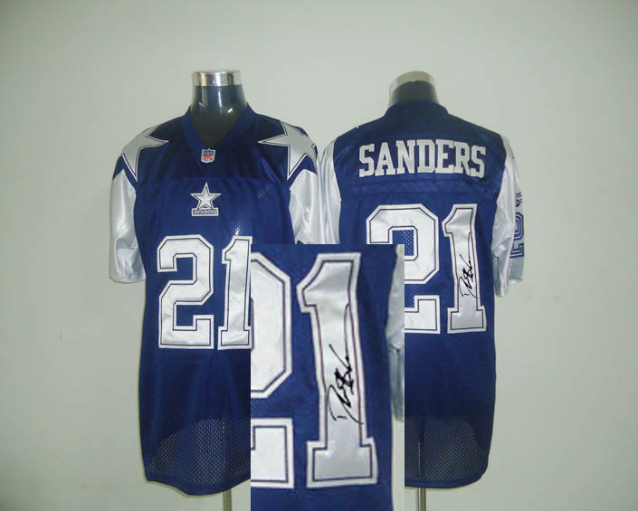 Cowboys 21 Deion Sanders Navy Thanksgiving Day Signature Edition M & N Jersey