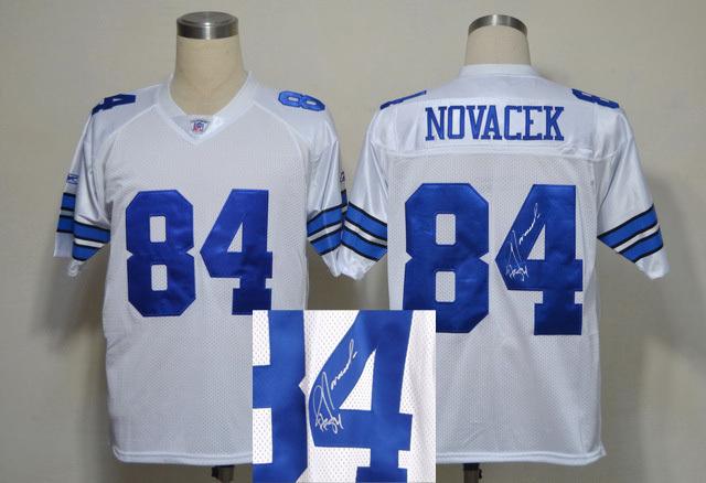 Cowboys 84 Jay Novacek White Signature Edition M & N Jersey