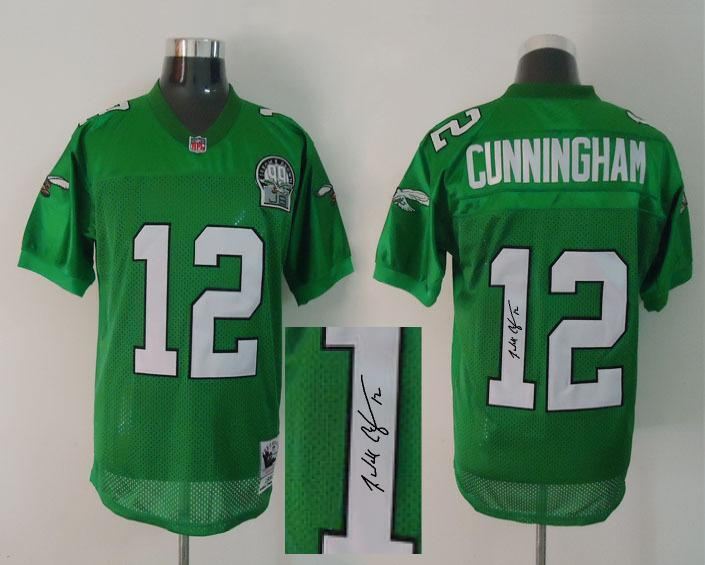 Eagles 12 Randall Cunningham Green Signature Edition M & N Jersey