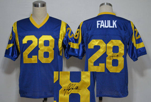 Rams 28 Marshall Faulk Blue Signature Edition M & N Jersey