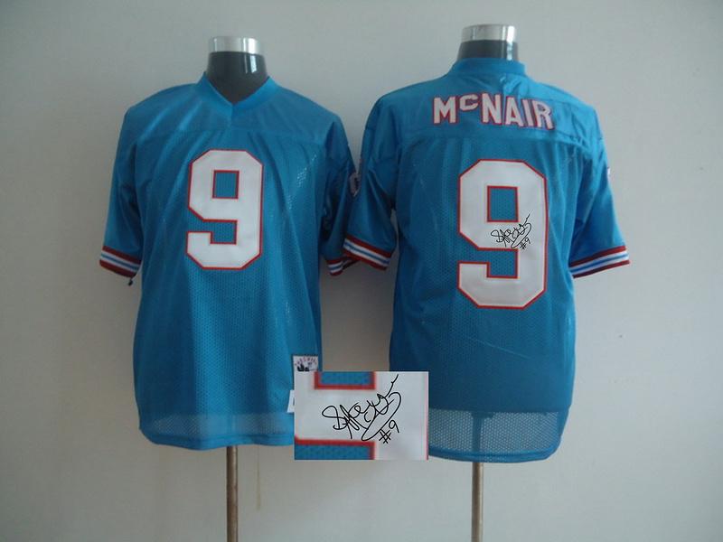 Titans 9 Steve McNair Blue Signature Edition M & N Jersey