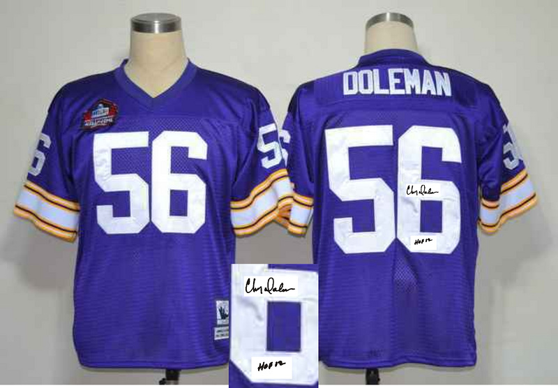 Vikings 56 Chris Doleman Purple Signature Edition M & N Jersey
