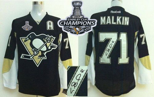 Penguins 71 Evgeni Malkin Black Autographed 2017 Stanley Cup Finals Champions Stitched Reebok Jersey