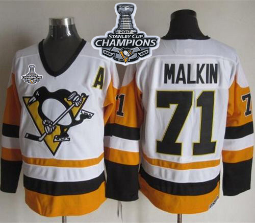 Penguins 71 Evgeni Malkin White Black CCM Throwback 2017 Stanley Cup Finals Champions Stitched NHL Jersey