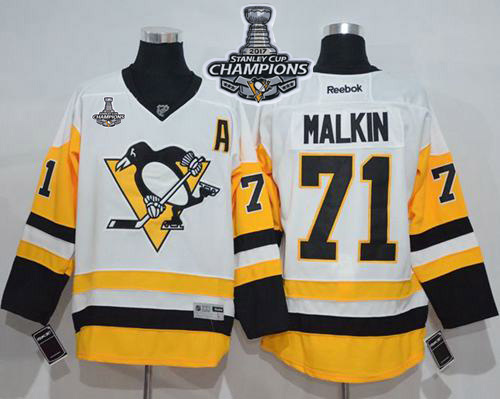 Penguins 71 Evgeni Malkin White New Away 2017 Stanley Cup Finals Champions Stitched Reebok Jersey