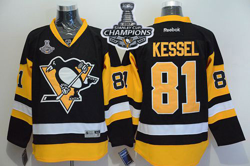 Penguins 81 Phil Kessel Black Alternate 2017 Stanley Cup Finals Champions Stitched Reebok Jersey