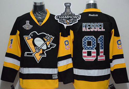 Penguins 81 Phil Kessel Black Alternate USA Flag Fashion 2017 Stanley Cup Finals Champions Stitched Reebok Jersey