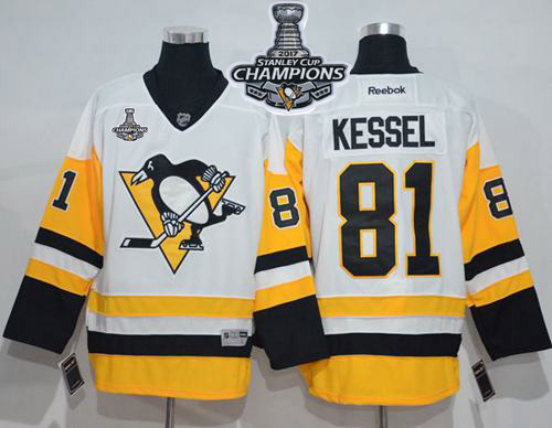Penguins 81 Phil Kessel White New Away 2017 Stanley Cup Finals Champions Stitched Reebok Jersey