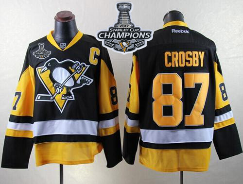 Penguins 87 Sidney Crosby Black Alternate 2017 Stanley Cup Finals Champions Reebok Jersey