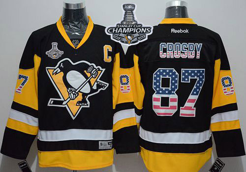 Penguins 87 Sidney Crosby Black Alternate USA Flag Fashion 2017 Stanley Cup Finals Champions Stitched Reebok Jersey
