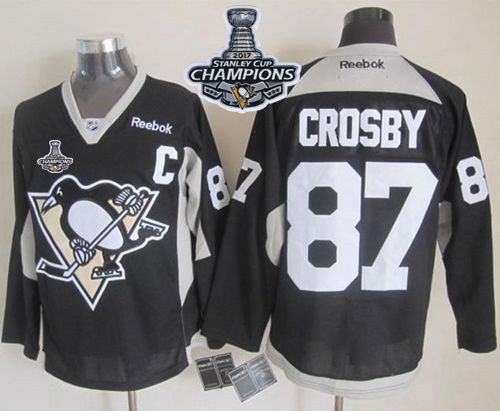 Penguins 87 Sidney Crosby Black Practice 2017 Stanley Cup Finals Champions Stitched Reebok Jersey