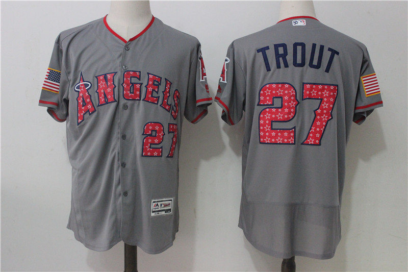 Angels 27 Mike Trout Gray 2017 Stars & Stripes Flexbase Player Jersey