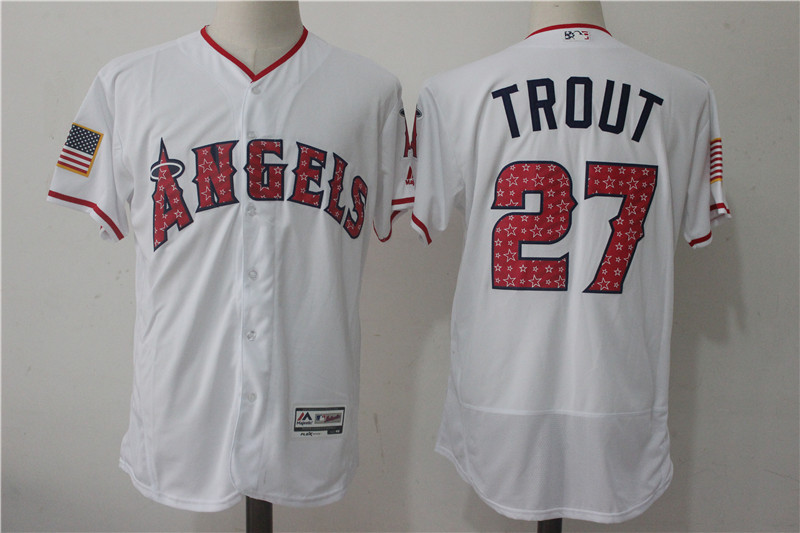 Angels 27 Mike Trout White 2017 Stars & Stripes Flexbase Player Jersey