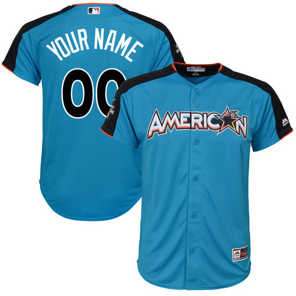 Youth American League Majestic Blue 2017 MLB All-Star Game Personalized Home Run Derby Jersey