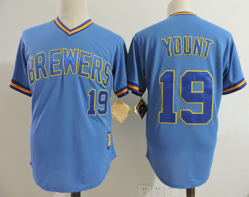 Brewers 19 Robin Yount Blue Cooperstown Collection Jersey