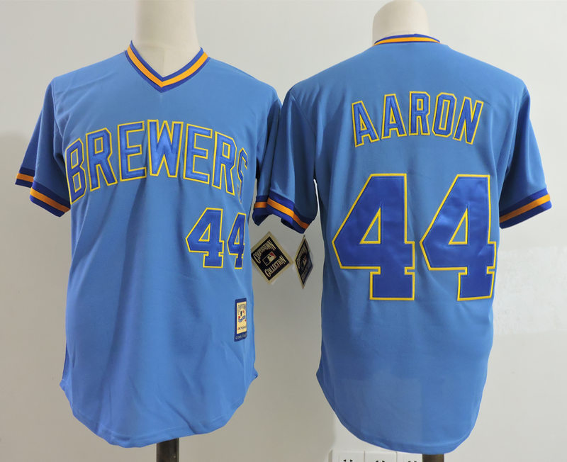 Brewers 44 Hank Aaron Blue Cooperstown Collection Jersey