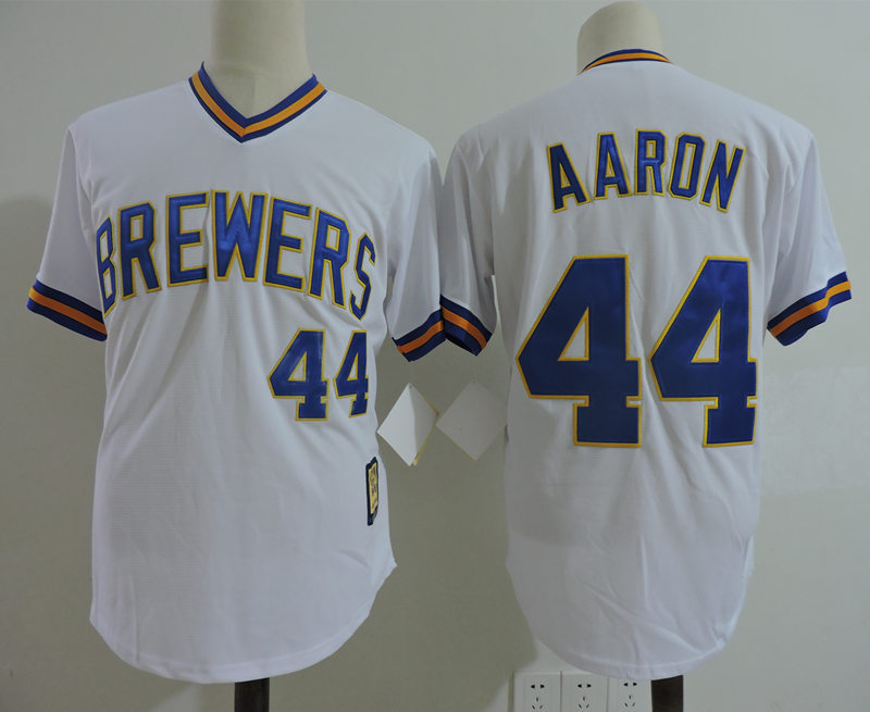 Brewers 44 Hank Aaron White Cooperstown Collection Jersey