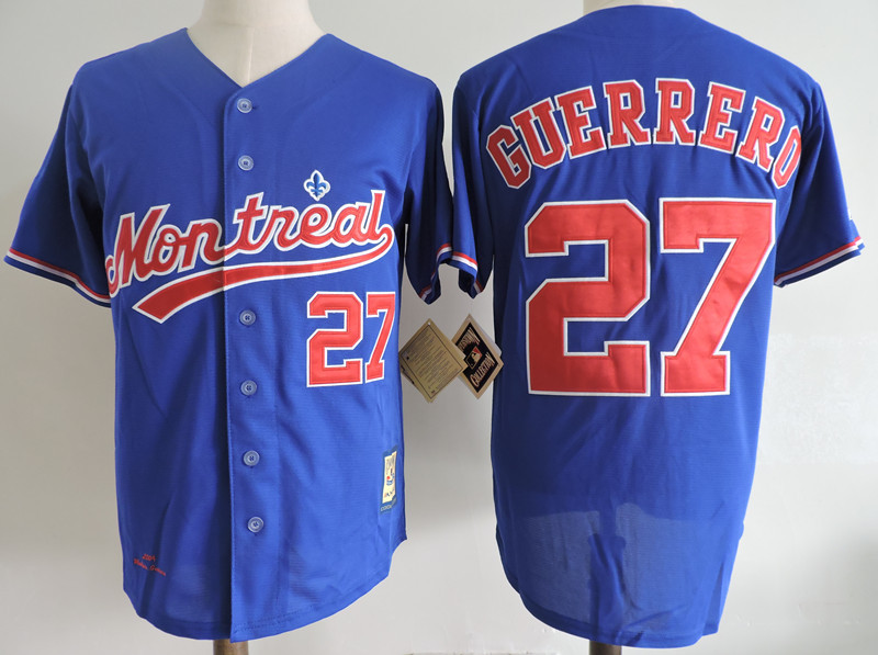 Expos 27 Vladimir Guerrero Blue Cooperstown Collection Jersey