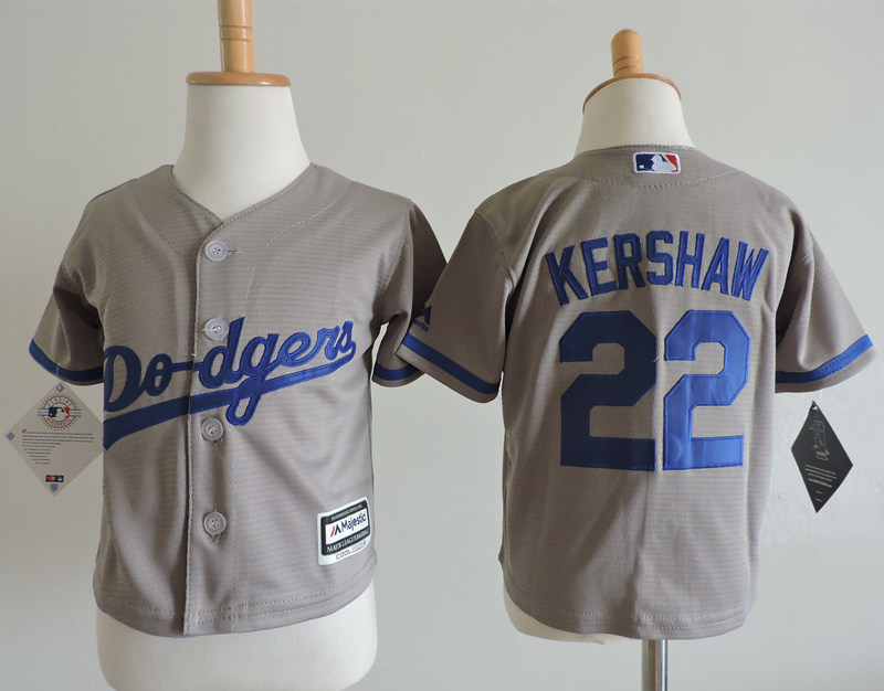 Dodgers 22 Clayton Kershaw Gray Toddler Cool Base Jersey