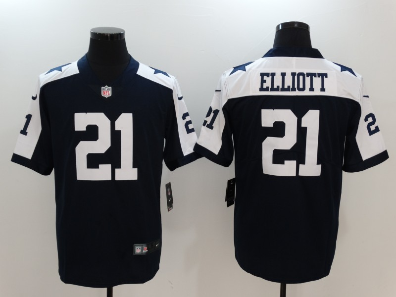 Nike Cowboys 21 Ezekiel Elliott Navy Throwback Vapor Untouchable Player Limited Jersey